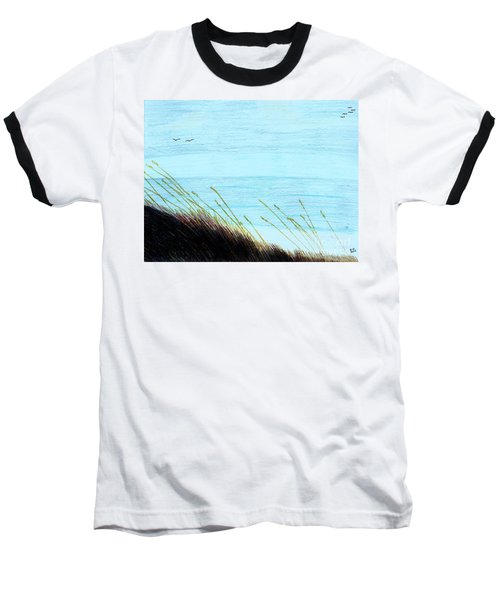 Baseball T-Shirt featuring the drawing Sea Oats In The Wind Drawing by D Hackett