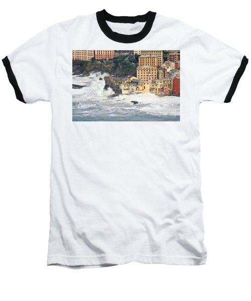 Baseball T-Shirt featuring the photograph Sea Storm In Camogli - Italy by Antonio Scarpi