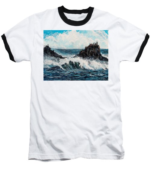 Baseball T-Shirt featuring the painting Sea Whisper by Shana Rowe Jackson