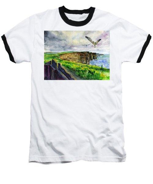 Seagulls At The Cliffs Of Moher Baseball T-Shirt by John D Benson