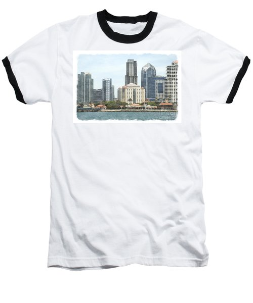 Seaport Village And Downtown San Diego Watercolor Baseball T-Shirt