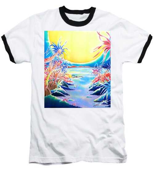 Baseball T-Shirt featuring the painting Seashore In The Moonlight by Hisayo Ohta