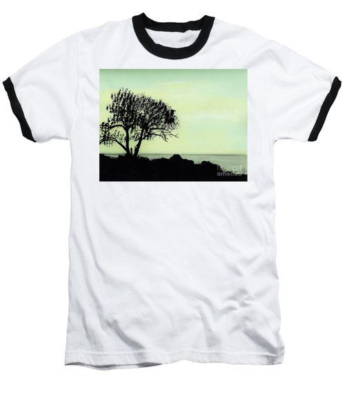 Baseball T-Shirt featuring the drawing Seashore Silhouette by D Hackett