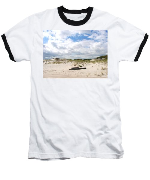 Baseball T-Shirt featuring the photograph Seaside Driftwood And Dunes by Pamela Hyde Wilson