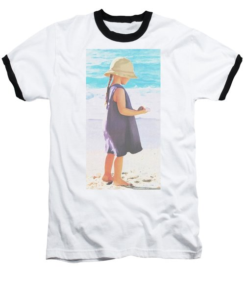 Baseball T-Shirt featuring the painting Seaside Treasures by Sophia Schmierer