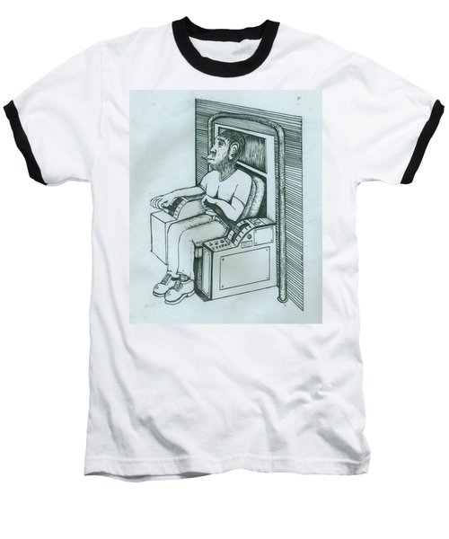 Seated Monkey Sketch Baseball T-Shirt