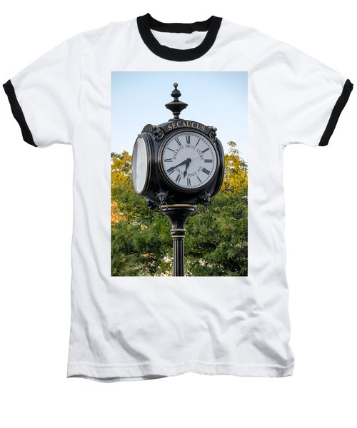 Secaucus Clock Marras Drugs Baseball T-Shirt by Susan Candelario