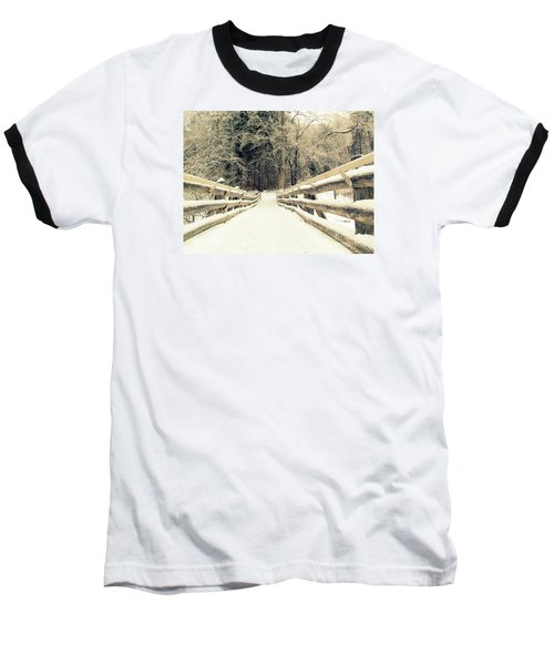 Sepia Winter Land Baseball T-Shirt by France Laliberte