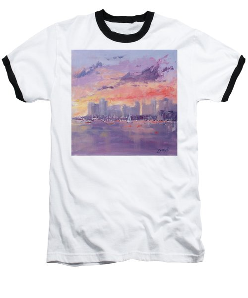 Baseball T-Shirt featuring the painting Setting Sun Over Boston  by Laura Lee Zanghetti