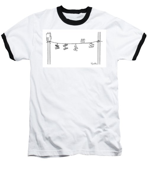 Several Pairs Of Shoes Dangle Over An Electrical Baseball T-Shirt