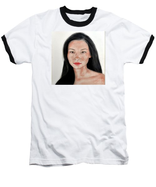 Sexy Freckle Faced Beauty Lucy Liu Baseball T-Shirt by Jim Fitzpatrick