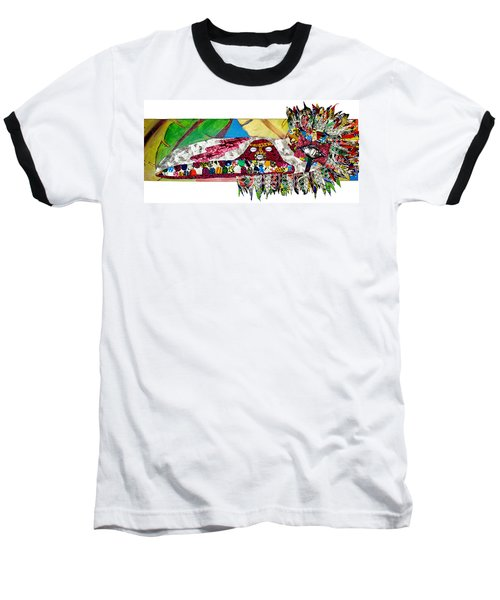 Baseball T-Shirt featuring the tapestry - textile Shango Firebird by Apanaki Temitayo M