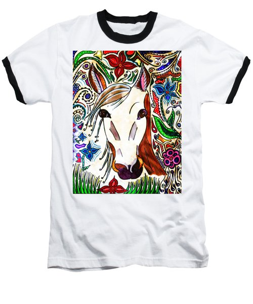 She Grazes Where Flowers Grow - Horse Baseball T-Shirt