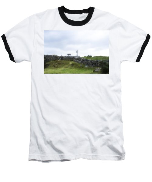 Sheep And Cross Baseball T-Shirt by Hugh Smith
