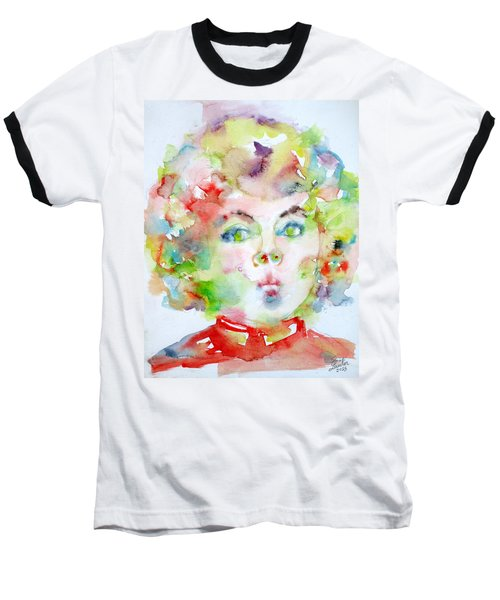 Shirley Temple - Watercolor Portrait.2 Baseball T-Shirt