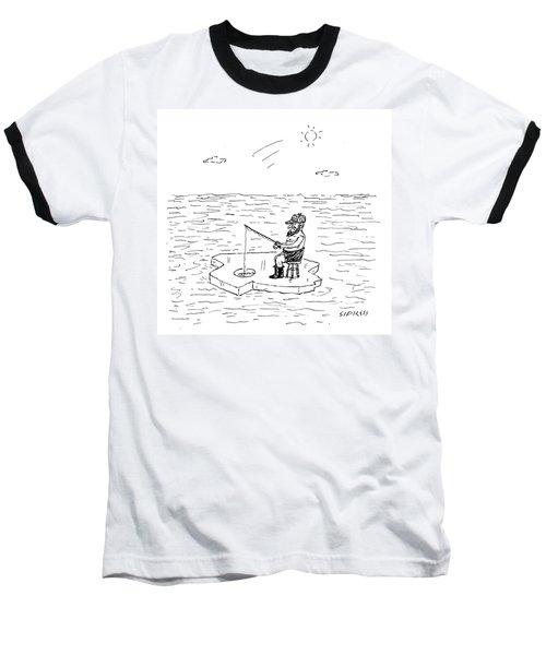 Shirtless Man Ice Fishing Baseball T-Shirt
