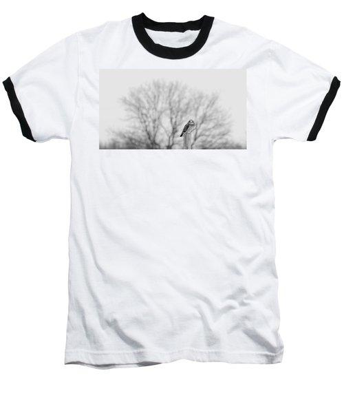Short-eared Owl In Black And White Baseball T-Shirt
