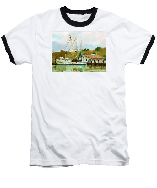 Shrimp Boat At Dock Baseball T-Shirt