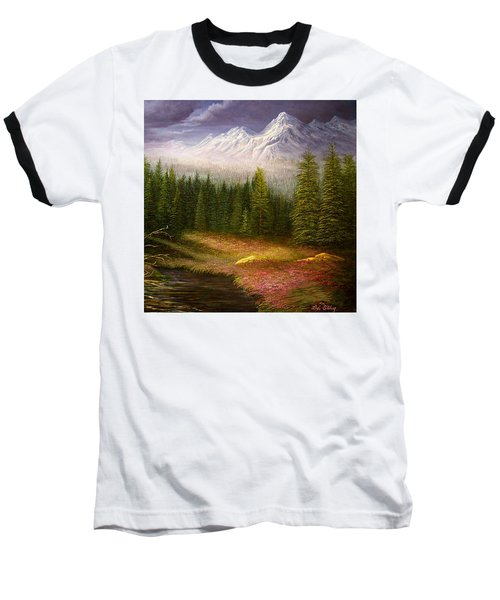 Baseball T-Shirt featuring the painting Sierra Spring Storm by Loxi Sibley