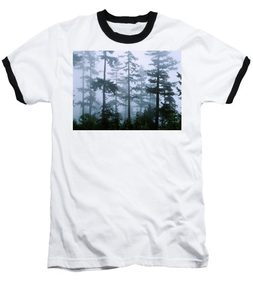 Silhouette Of Trees With Fog Baseball T-Shirt by Panoramic Images