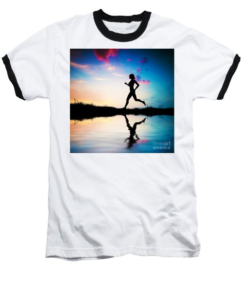 Silhouette Of Woman Running At Sunset Baseball T-Shirt