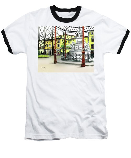 Baseball T-Shirt featuring the painting Silla Hotel Piazza Demidoff Florence by Albert Puskaric
