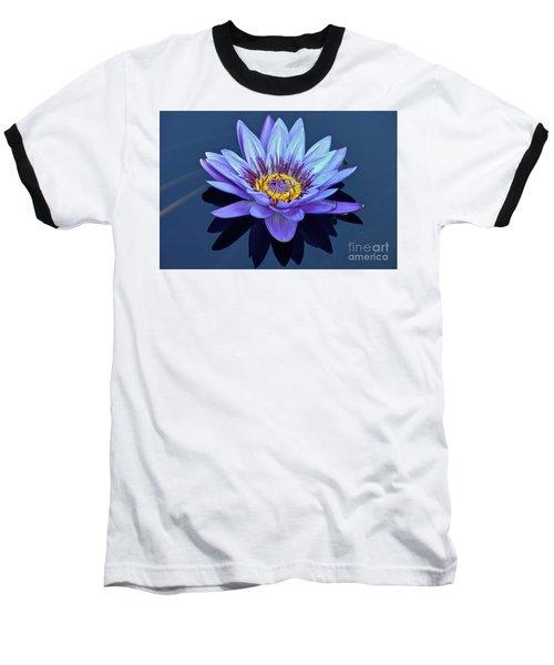 Single Lavender Water Lily Baseball T-Shirt by Byron Varvarigos