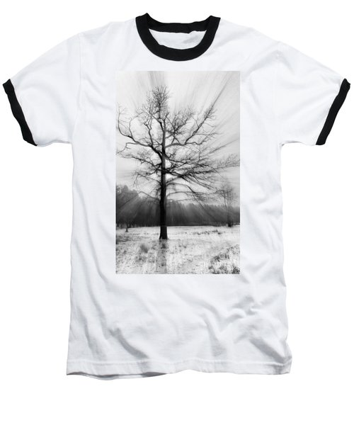 Single Leafless Tree In Winter Forest Baseball T-Shirt