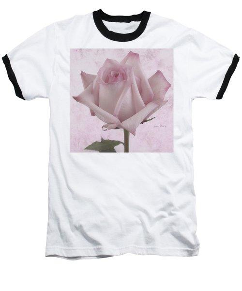 Single Pink Rose Blossom Baseball T-Shirt by Sandra Foster