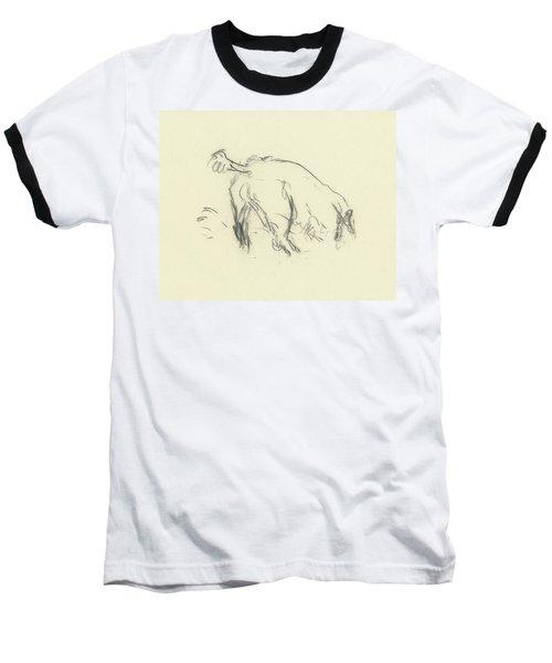 Sketch Of A Dog Digging A Hole Baseball T-Shirt