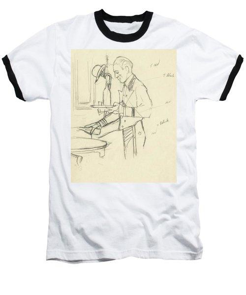Sketch Of Waiter Pouring Wine Baseball T-Shirt