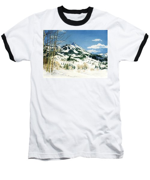 Skiers Paradise Baseball T-Shirt by Barbara Jewell