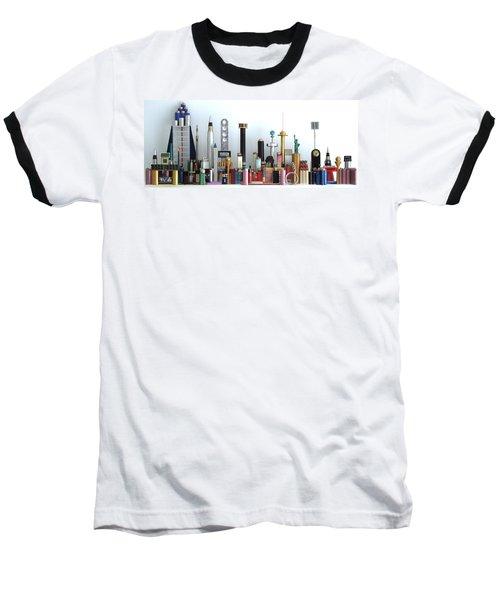 Skyline Sculpture Baseball T-Shirt by Ron Davidson