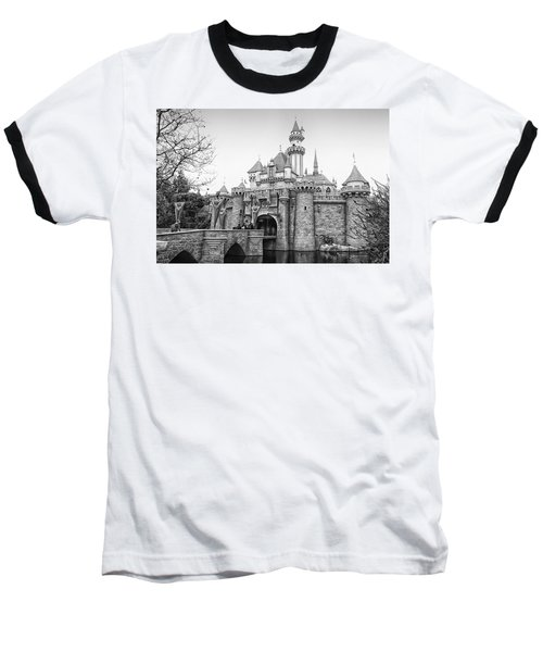 Sleeping Beauty Castle Disneyland Side View Bw Baseball T-Shirt by Thomas Woolworth