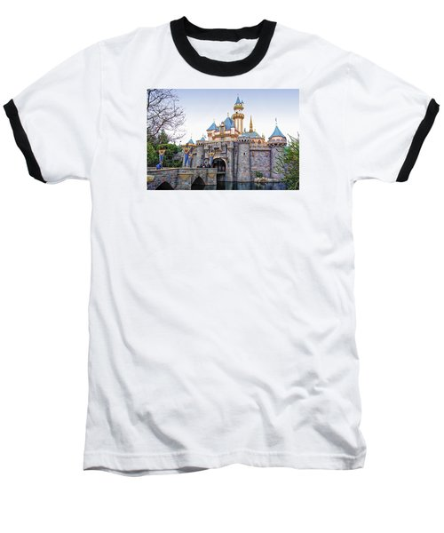Sleeping Beauty Castle Disneyland Side View Baseball T-Shirt by Thomas Woolworth