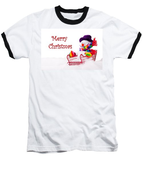 Baseball T-Shirt featuring the photograph Snowman Riding In A Red Sleigh - Christmas  by Vizual Studio