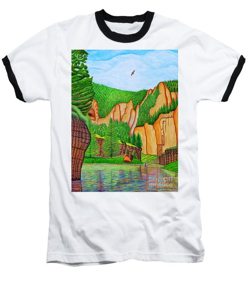 Baseball T-Shirt featuring the painting Smith River Montana by Joseph J Stevens