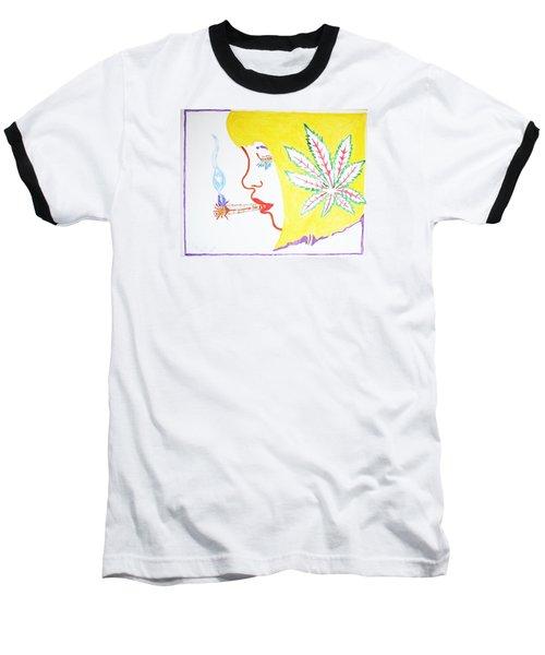 Smoking Blonde Baseball T-Shirt by Stormm Bradshaw