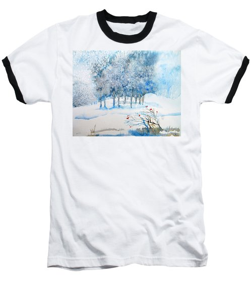 Snow Blizzard In The Grove  Baseball T-Shirt by Trudi Doyle