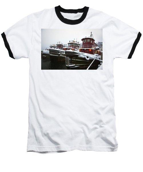 Snow Covered Tugboats Baseball T-Shirt