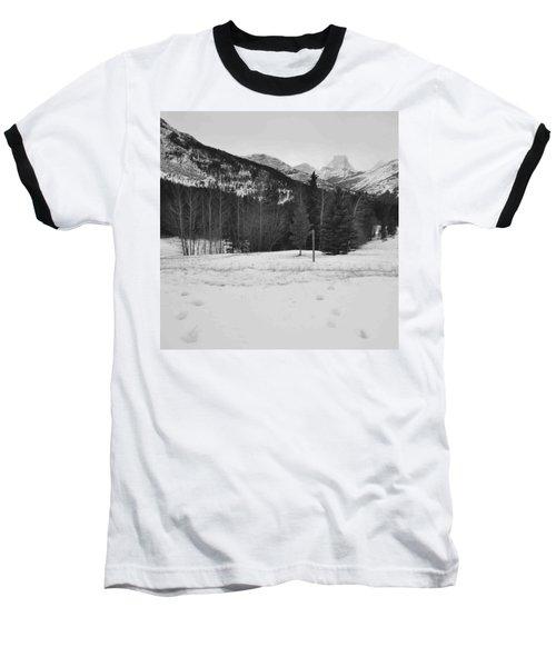 Snow Prints Baseball T-Shirt by Cheryl Miller
