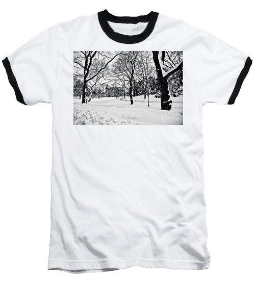 Snow Scene  Baseball T-Shirt by Madeline Ellis