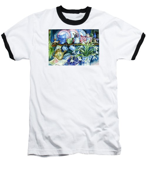 Baseball T-Shirt featuring the painting Snowdrops On A Kitchen Dresser by Trudi Doyle