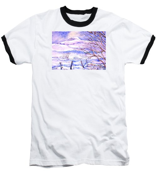 Baseball T-Shirt featuring the painting Snowfall On Eagle Hill Hacketstown Ireland  by Trudi Doyle