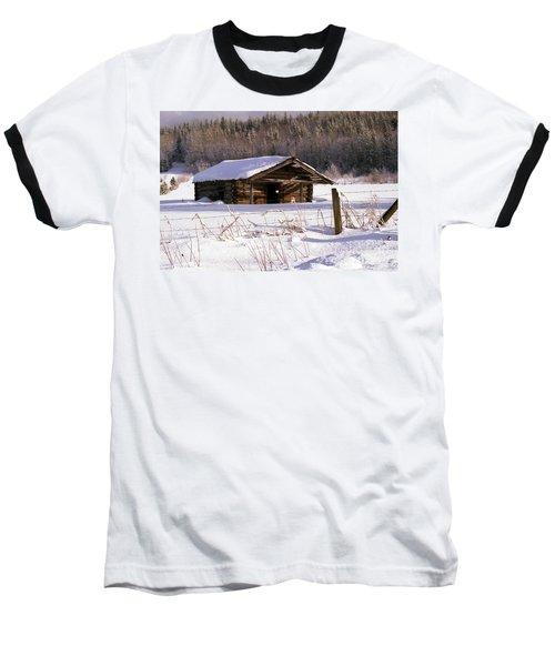 Snowy Cabin Baseball T-Shirt