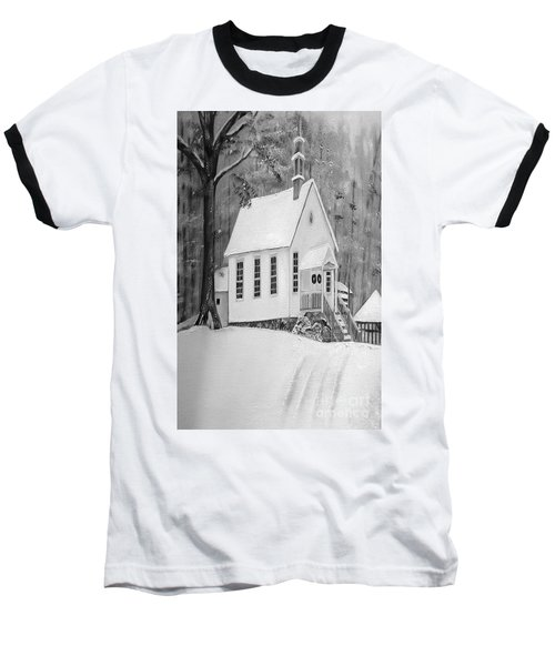 Snowy Gates Chapel -white Church - Portrait View Baseball T-Shirt