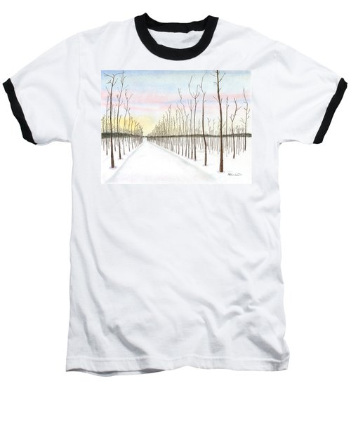 Baseball T-Shirt featuring the drawing Snowy Lane by Arlene Crafton