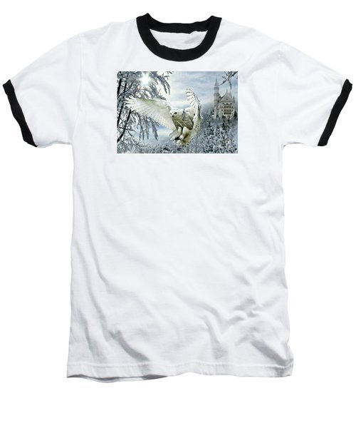 Baseball T-Shirt featuring the mixed media Snowy Owl by Morag Bates