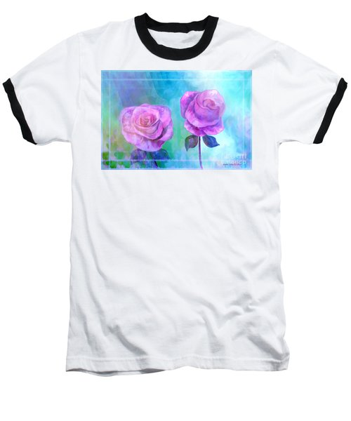 Baseball T-Shirt featuring the painting Soft And Beautiful Roses by Annie Zeno