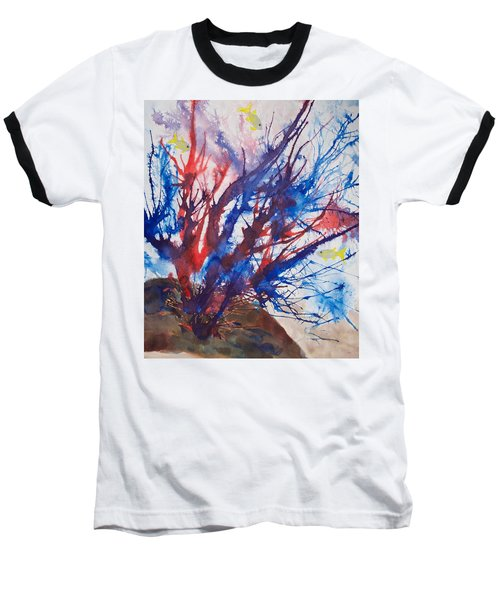 Soft Coral Splatter Baseball T-Shirt by Patricia Beebe